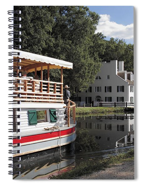 Canal Boat On The C And O Canal At Great Falls Tavern Spiral Notebook
