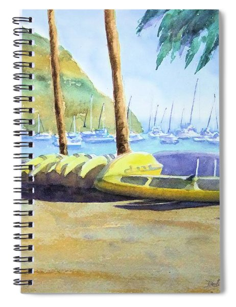 Canoes And Surfboards In The Morning Light - Catalina Spiral Notebook
