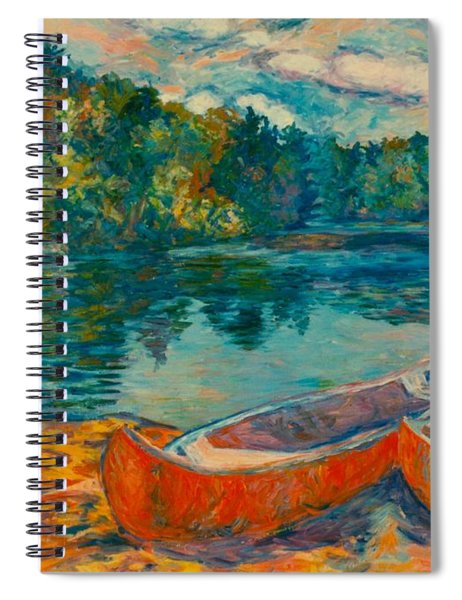 Canoes At Mountain Lake Spiral Notebook