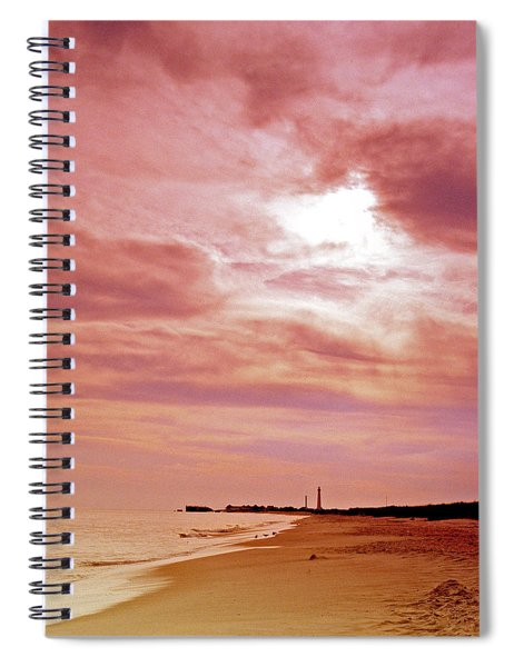 Cape May New Jersey Sunset With Lighthouse In The Distance Spiral Notebook