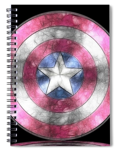 Captain America Shield Digital Painting Spiral Notebook
