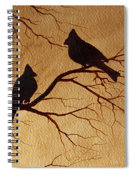 Cardinals Silhouettes Coffee Painting Spiral Notebook by Georgeta  Blanaru