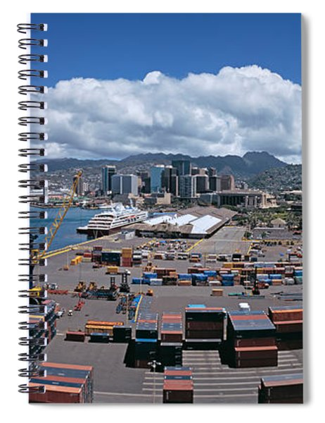 Cargo Containers At A Harbor, Honolulu Spiral Notebook