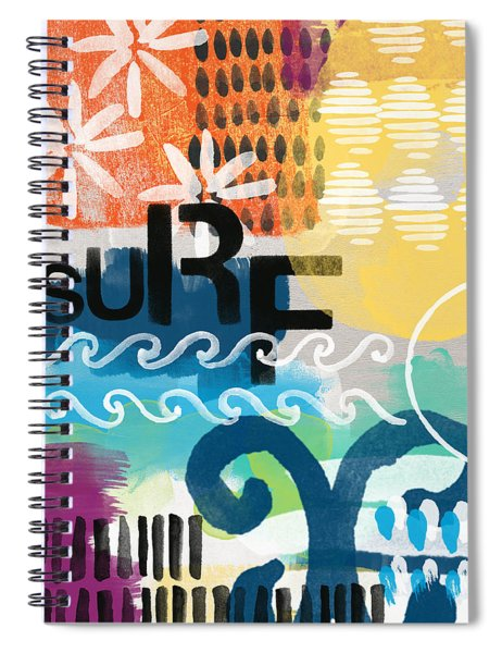 Carousel #7 Surf - Contemporary Abstract Art Spiral Notebook by Linda Woods