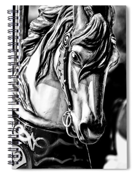 Carousel Horse Two - Bw Spiral Notebook