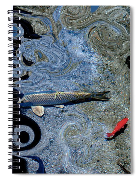 Cat And Koi Blue Spiral Notebook