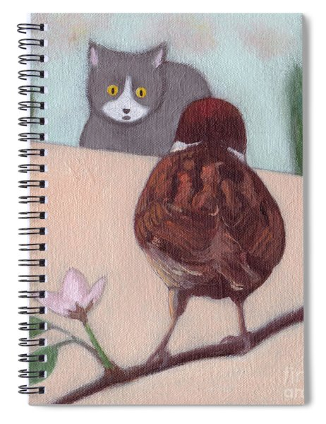 Cat And Sparrow  Spiral Notebook