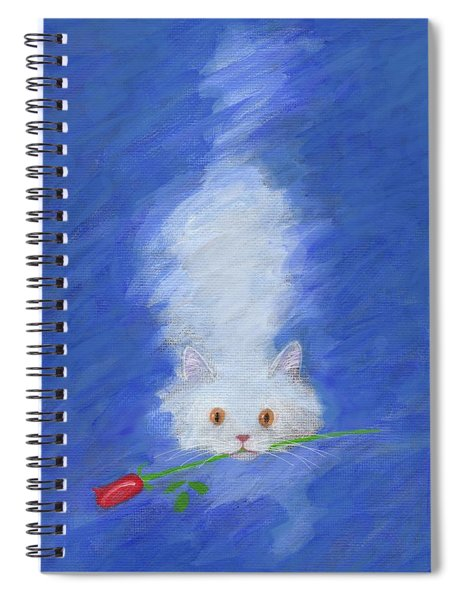 Cat With A Rose Spiral Notebook