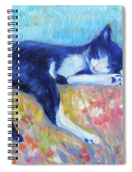 Cat With Flowers Spiral Notebook