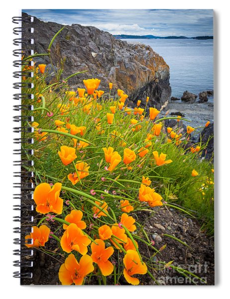 Spiral Notebook featuring the photograph Cattle Point Poppies by Inge Johnsson