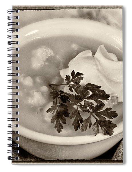 Cauliflower Soup Sepia Tone Spiral Notebook