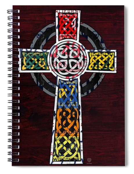 Celtic Cross License Plate Art Recycled Mosaic On Wood Board Spiral Notebook