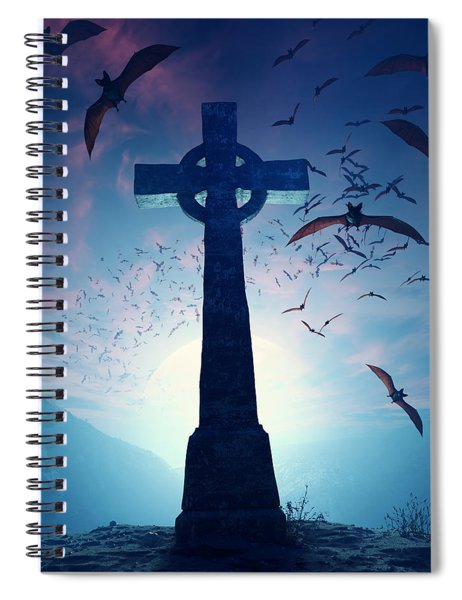 Celtic Cross With Swarm Of Bats Spiral Notebook