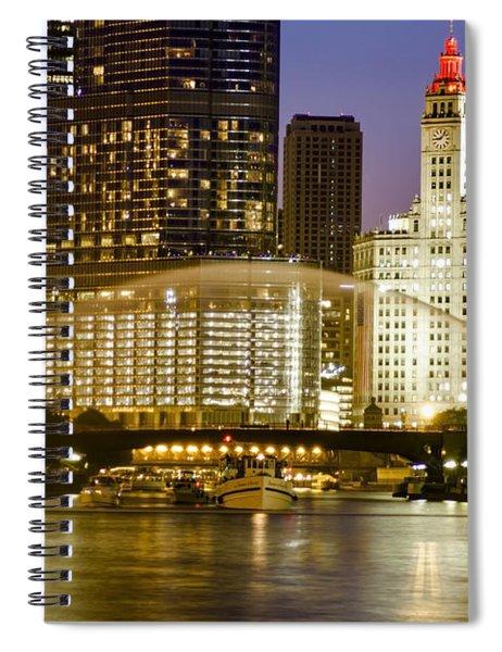 Centennial Fountain Over Chicago River At Dusk Spiral Notebook