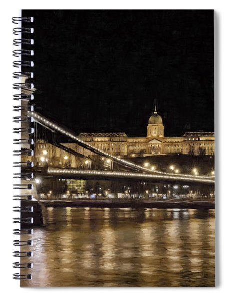 Chain Bridge And Buda Castle Winter Night Painterly Spiral Notebook