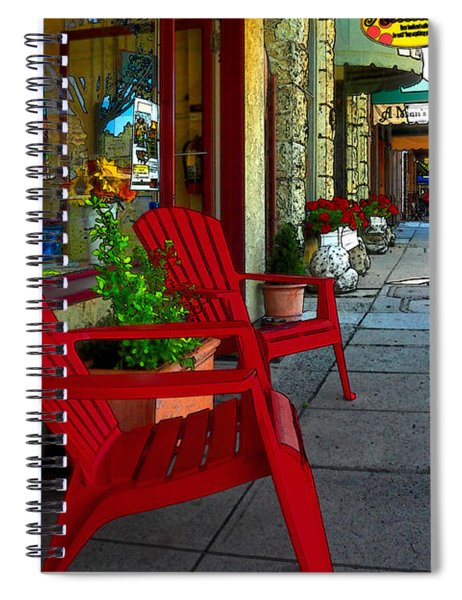 Chairs On A Sidewalk Spiral Notebook
