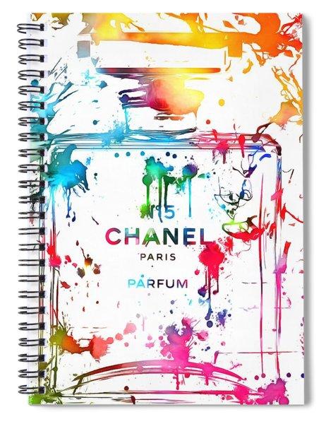 Chanel Number Five Paint Splatter Spiral Notebook