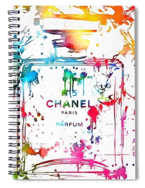 Chanel Number Five Paint Splatter Spiral Notebook