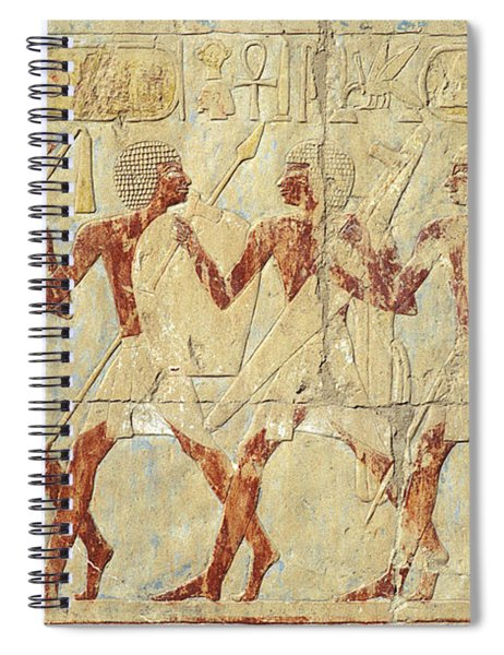 Chapel Of Hathor Hatshepsut Nubian Procession Soldiers - Digital Image -fine Art Print-ancient Egypt Spiral Notebook