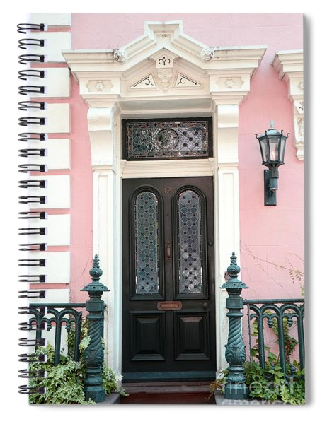 Charleston French Quarter Pink House - Charleston French Architecture Pink Black And White Door Spiral Notebook