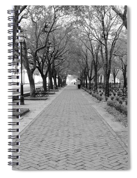 Charleston Waterfront Park Walkway - Black And White Spiral Notebook