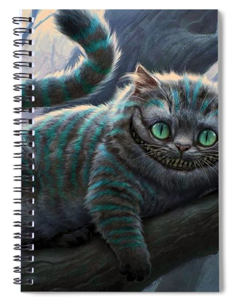 Spiral Notebook featuring the digital art Cheshire Cat by Movie Poster Prints