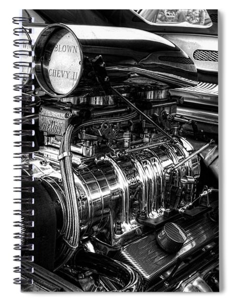 Chevy Supercharger Motor Black And White Spiral Notebook
