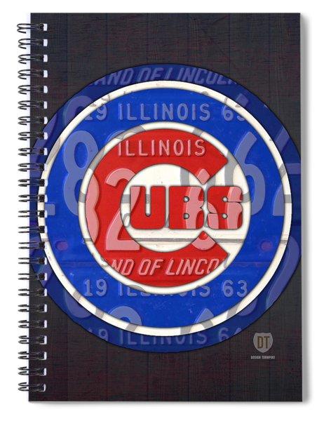 Chicago Cubs Baseball Team Retro Vintage Logo License Plate Art Spiral Notebook