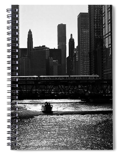 Chicago Morning Commute - Monochrome Spiral Notebook