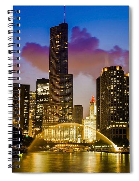 Chicago River Dusk Scene Spiral Notebook