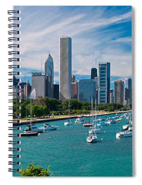 Chicago Skyline Daytime Panoramic Spiral Notebook