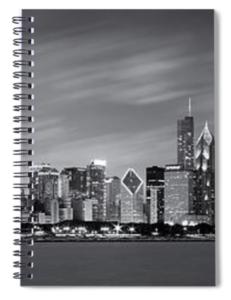 Chicago Skyline At Night Black And White Panoramic Spiral Notebook