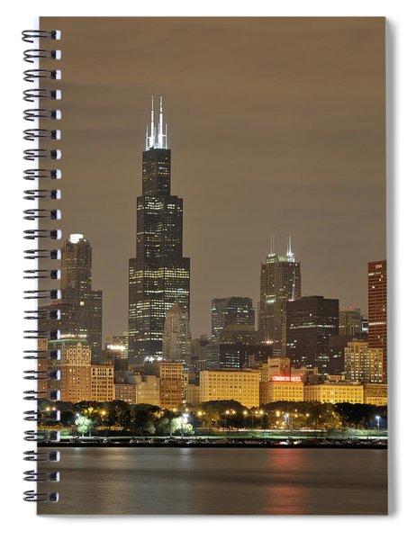 Chicago Skyline At Night Spiral Notebook