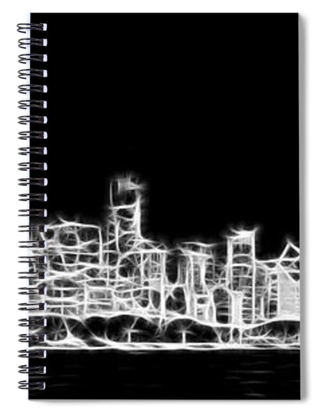 Chicago Skyline Fractal Black And White Spiral Notebook