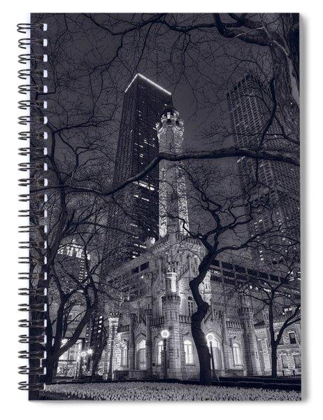 Chicago Water Tower Dusk B W Spiral Notebook