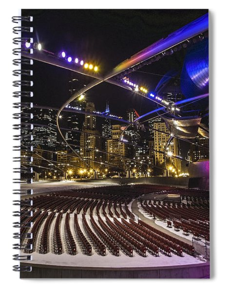 Chicago's Pritzker Pavillion With Colored Lights  Spiral Notebook