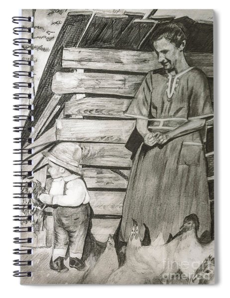 Spiral Notebook featuring the drawing Chicken Coop - Woman And Son - Feeding Chickens by Jan Dappen