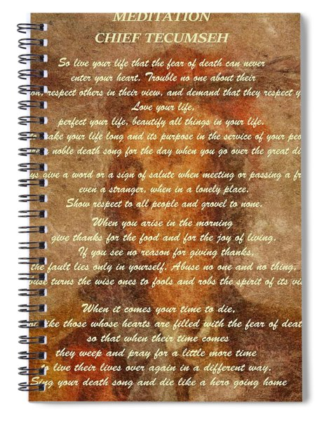 Chief Tecumseh Poem Spiral Notebook