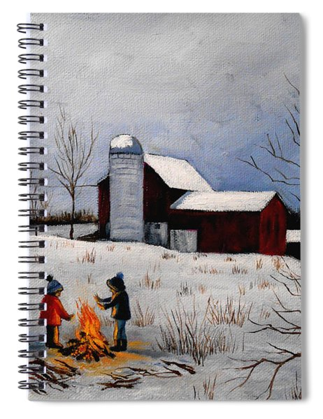 Children Warming Up By The Fire Spiral Notebook