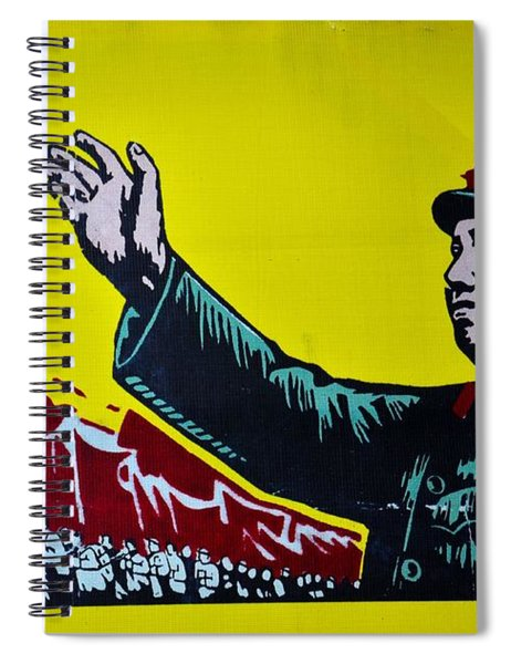 Chinese Communist Propaganda Poster Art With Mao Zedong Shanghai China Spiral Notebook