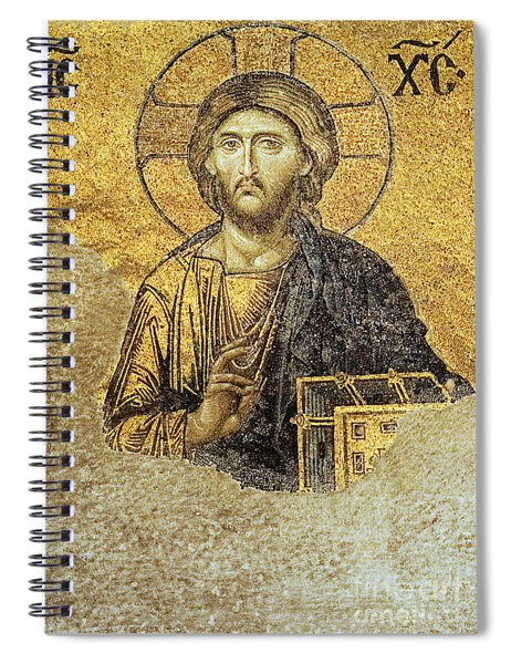 Christ Pantocrator-detail Of Deesis Mosaic Hagia Sophia-judgement Day Spiral Notebook