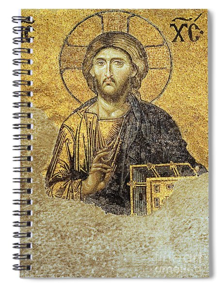 Christ Pantocrator-detail Of Deesis Mosaic Hagia Sophia-judgement Day Spiral Notebook