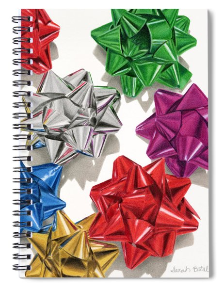 Christmas Bows And Shadows Spiral Notebook