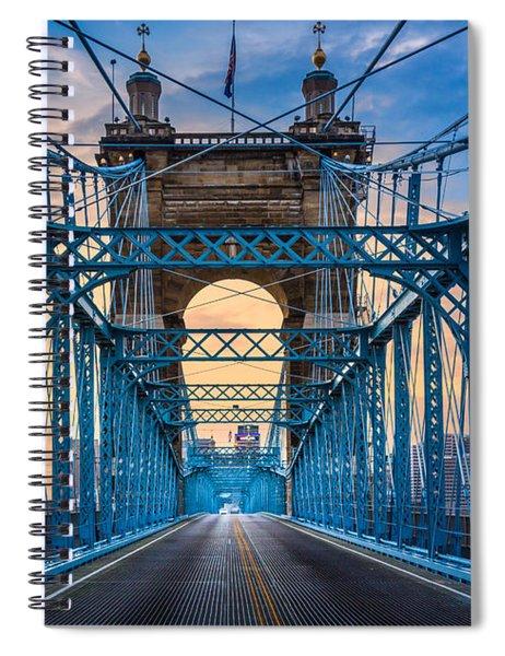Spiral Notebook featuring the photograph Cincinnati Suspension Bridge by Inge Johnsson