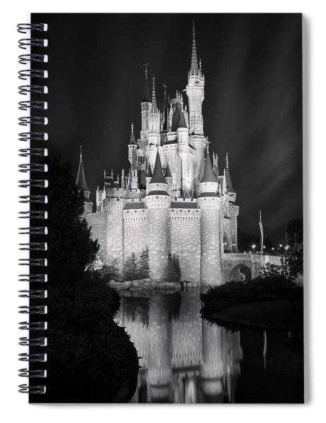 Cinderella's Castle Reflection Black And White Spiral Notebook