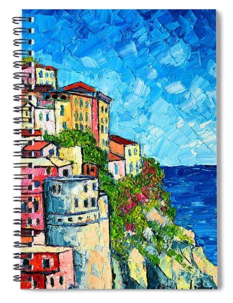 Cinque Terre Italy Manarola Painting Detail 3 Spiral Notebook