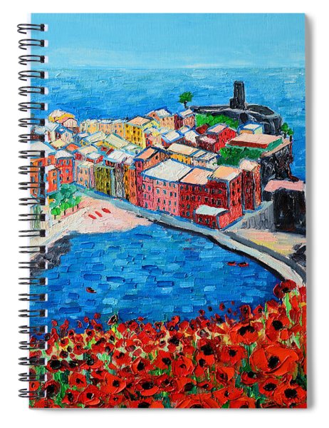 Cinque Terre Vernazza Poppies Spiral Notebook