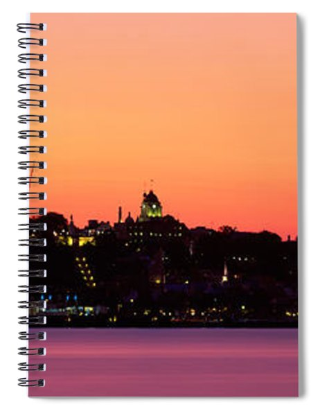 City At Dusk, Chateau Frontenac Hotel Spiral Notebook
