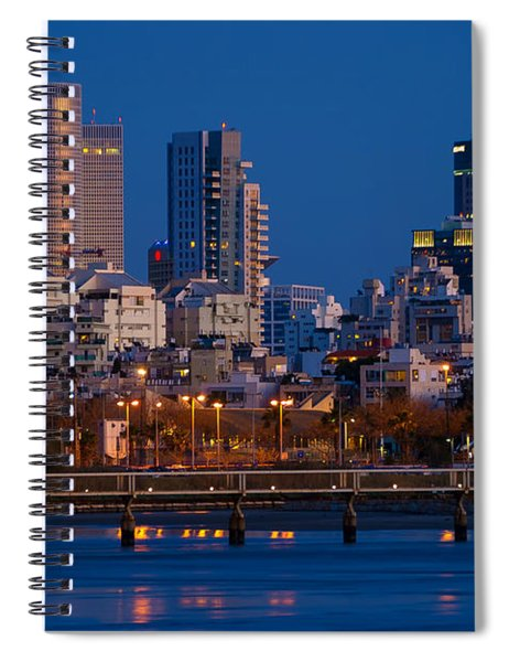city lights and blue hour at Tel Aviv Spiral Notebook