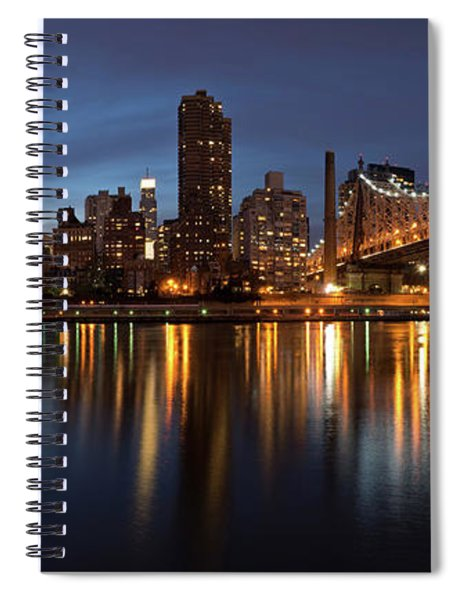 City Lit Up At Night, Queensboro Spiral Notebook